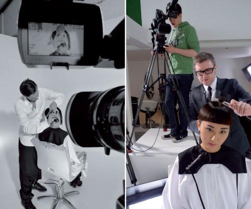 Jean-Baptiste Mazella i Dove Palmer na snimanju za portal myhairdresser.com