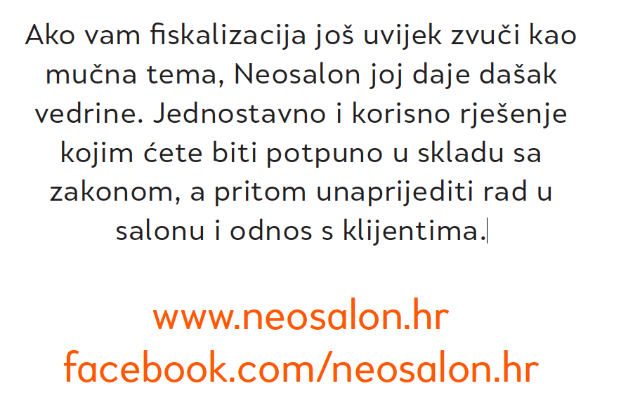 NEOSALON - FISKALIZACIJA