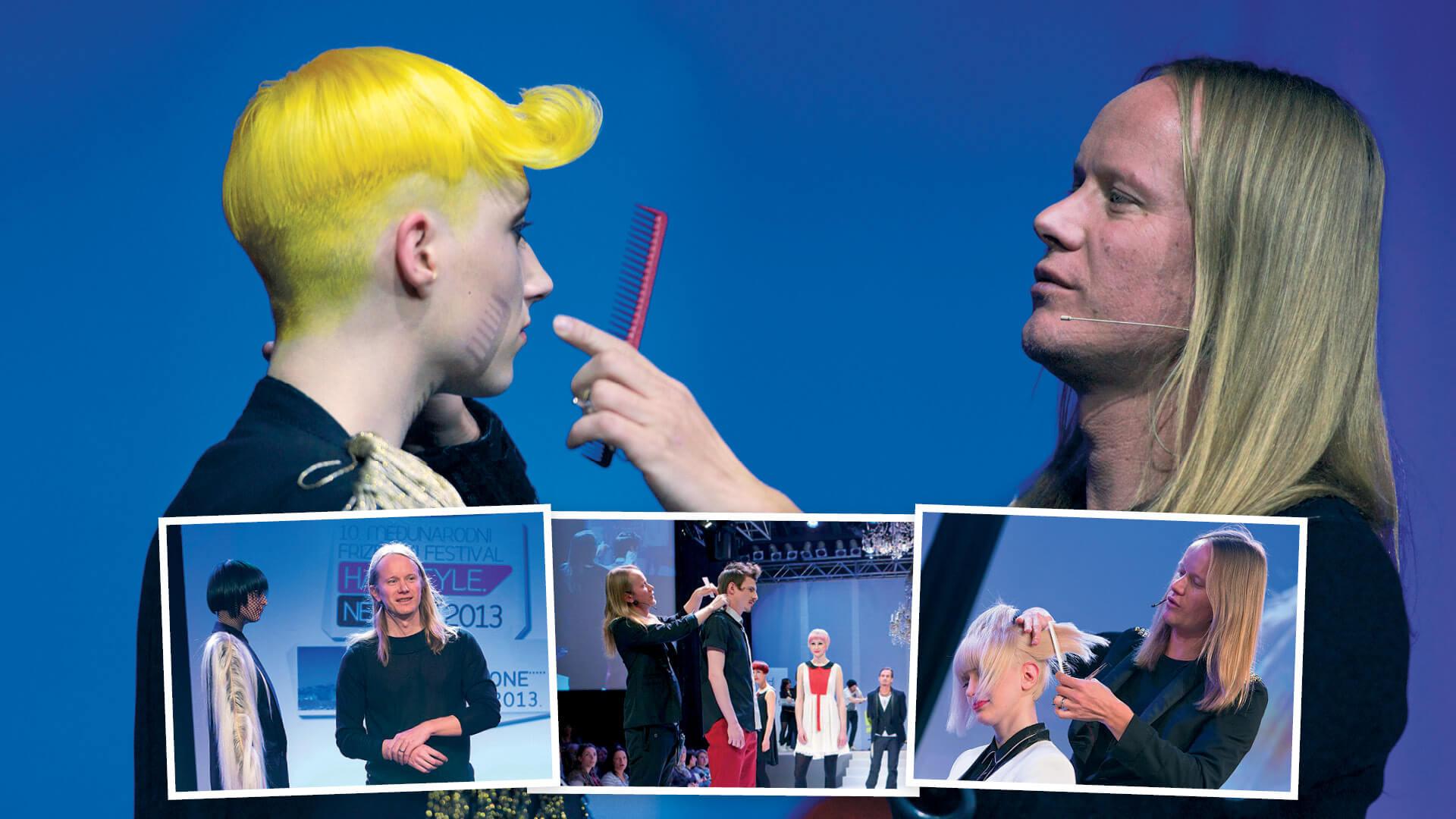 Tomaž Turk i kolaž fotografija nastupa njega i Mič Styling frizerske akademije na Hairstyle News frizerskom festivalu